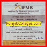 Research Associate for PhD (Institute for Financial Management and Research (IFMR))