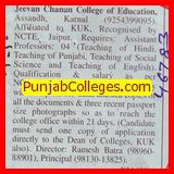 Asstt Professor for Punjabi (JEEVAN CHANAN COLLEGE OF EDUCATION)