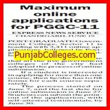 Maximum online applications for PGGC (Post Graduate Government College (Sector 11))
