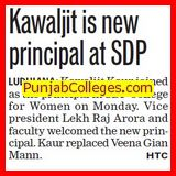 Kawaljit elected as new Principal (SDP College for Women)