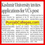 KU invites applications for VCs post (Kashmir University)