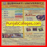 BFA and MFA course (Swami Vivekanand Subharti University)