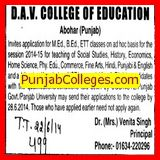 M Ed, B Ed and ETT course (DAV College)