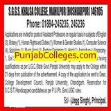 Asstt Professor for Botany and Agronomy (SGGS Khalsa College)