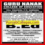 B Ed course (Guru Nanak College of Education)