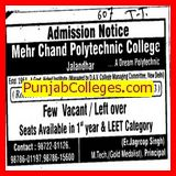 M Tech programme (Mehr Chand Polytechnic)