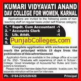 Superintendent cum Accountant (Kumari Vidyavati Anand DAV College for Women)